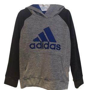 Adidas Boy's Gray Fusion Raglan Hoodie-size 6
